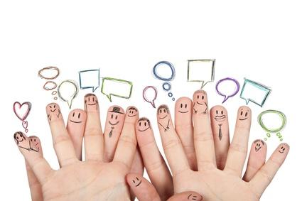 Concept of social netowork with hands