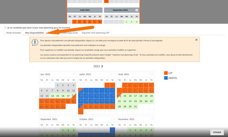 exporter un planning ical LVP DIRECT