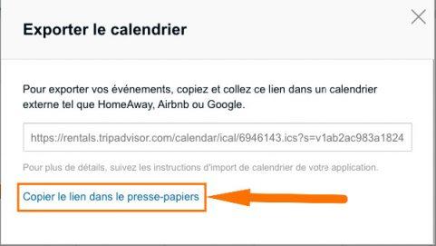 exporter un planning ical Tripadvisor
